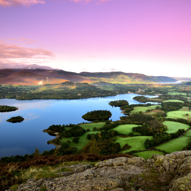 """Pink morning skies over Keswick"" stock image"