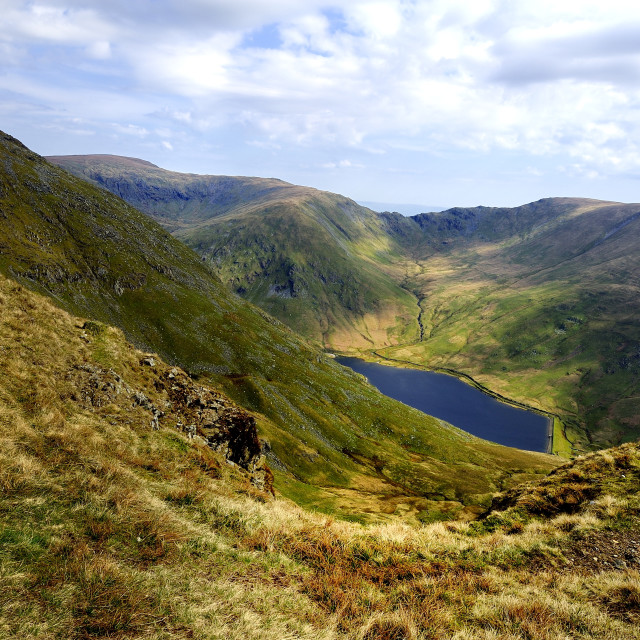 """""""Viewing the Kentmere Reservoir"""" stock image"""