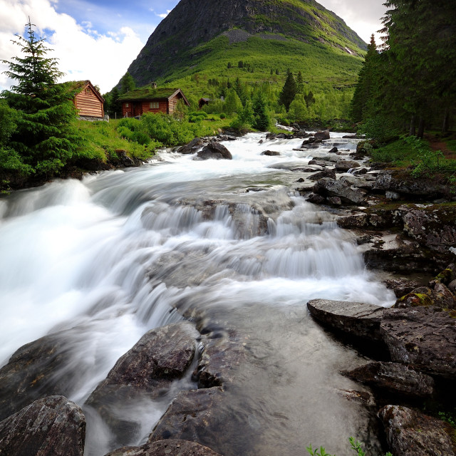"""Trollstigen fast flowing water"" stock image"