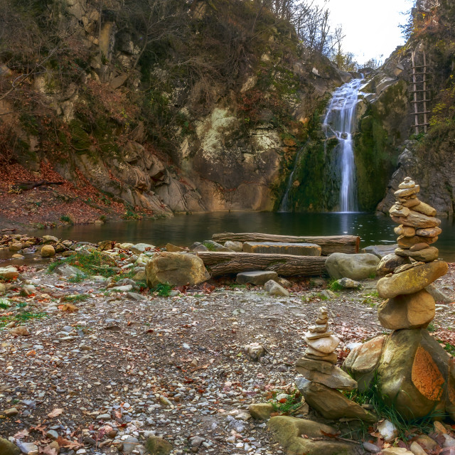 """Beauty autumn on a waterfall"" stock image"