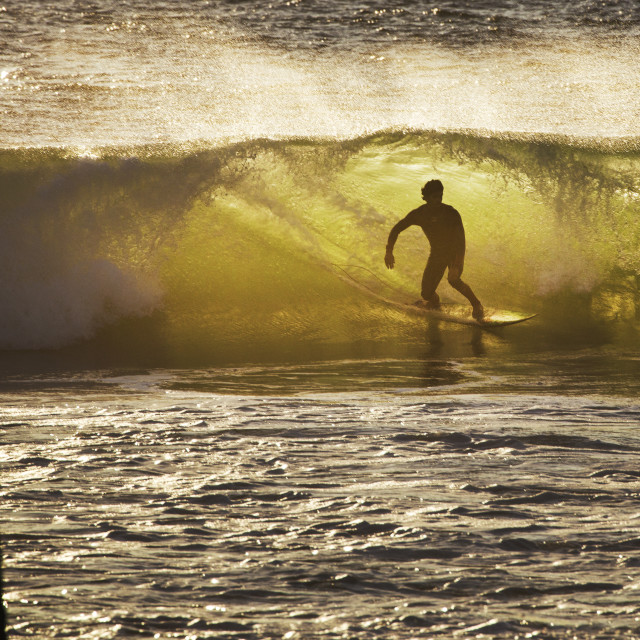 """Surfer in the 'green room'"" stock image"