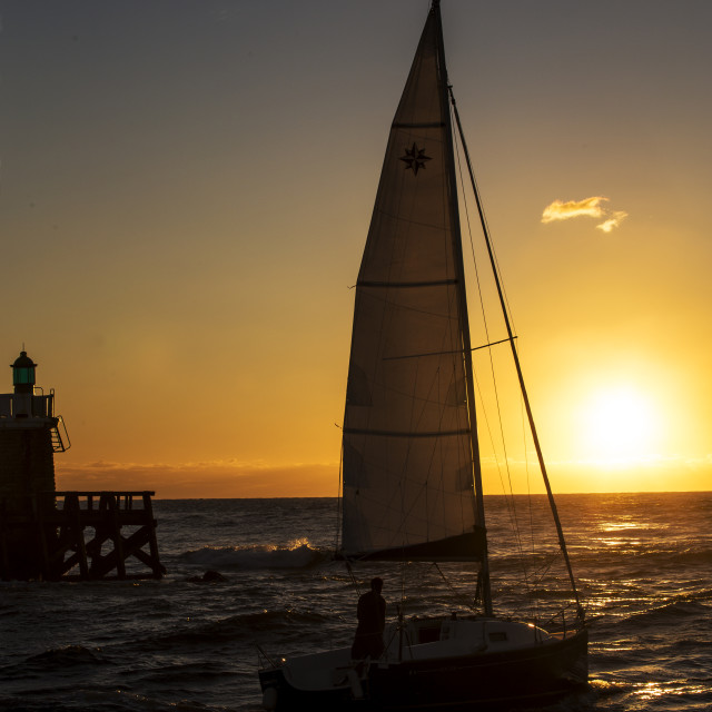 """Sailing into the sunset"" stock image"