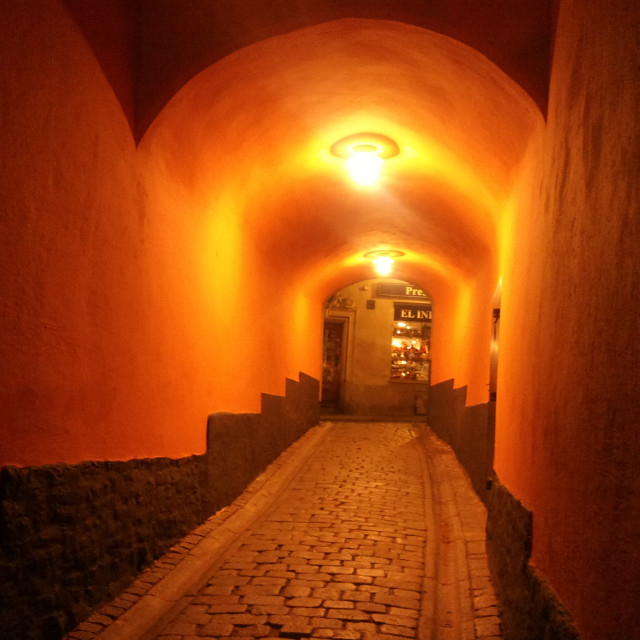 """Passage in Stockholm, by night"" stock image"