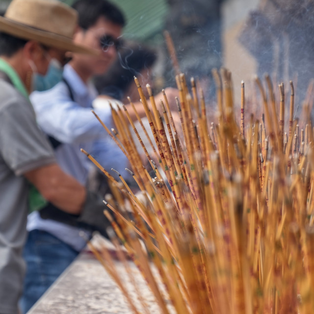 """""""The incense in front of the temple"""" stock image"""