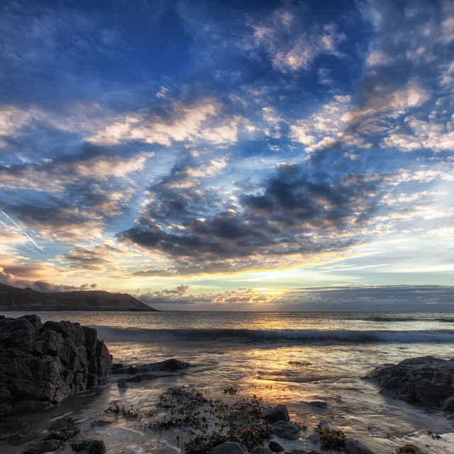 """Gower peninsula sunrise"" stock image"