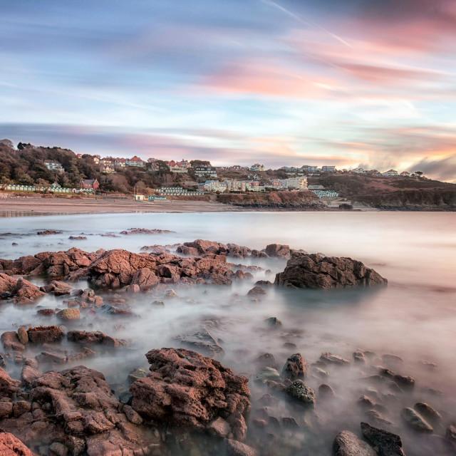 """""""Langland Bay sunrise"""" stock image"""
