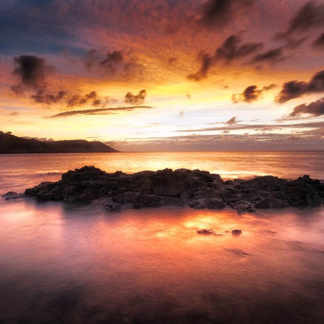"""""""Sunrise at Langland Bay"""" stock image"""