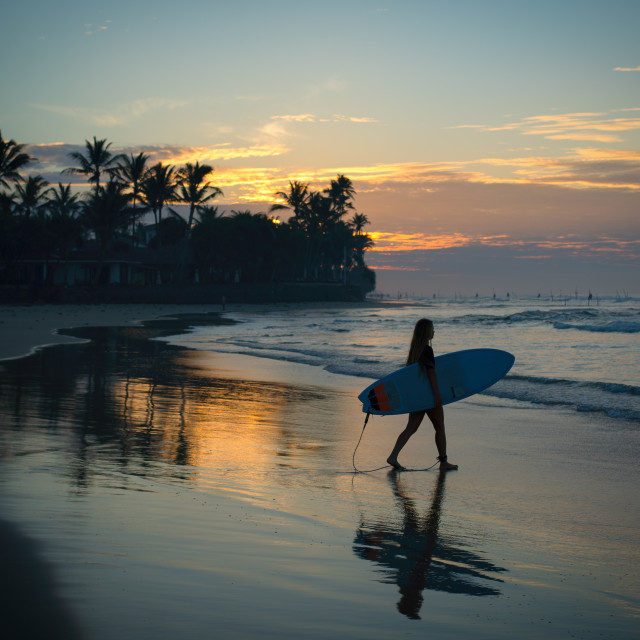 """Sunrise surf Sri Lanka"" stock image"