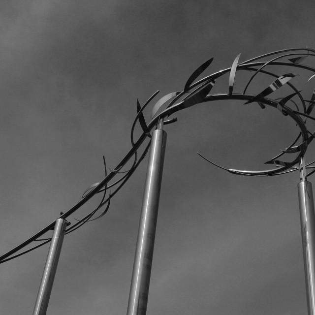 """The Zephyr Sculpture, City Art Trail, Kelowna City, Okanagan valley, British..."" stock image"