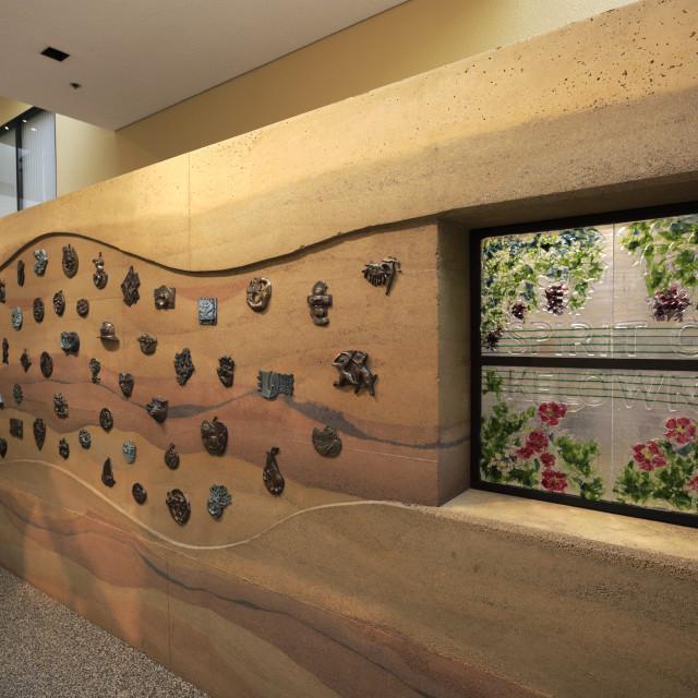 """The Spirit of Kelowna sculpture, City Hall Foyer, City Art Trail, Kelowna..."" stock image"