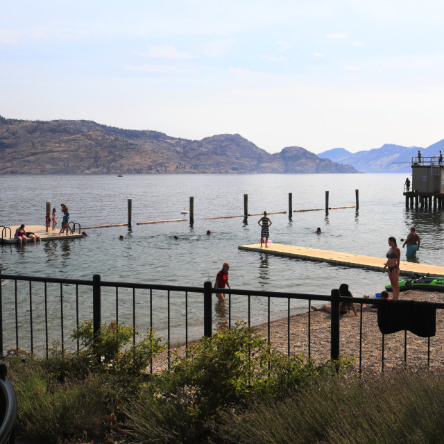 """""""Summer view over the Okanagan Lake, Peachland village, a Municipality in..."""" stock image"""