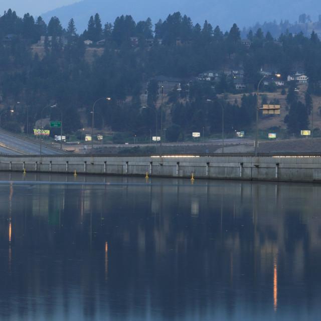 """The Bennett Bridge, Kelowna City, Okanagan Lake, British Columbia, Canada"" stock image"