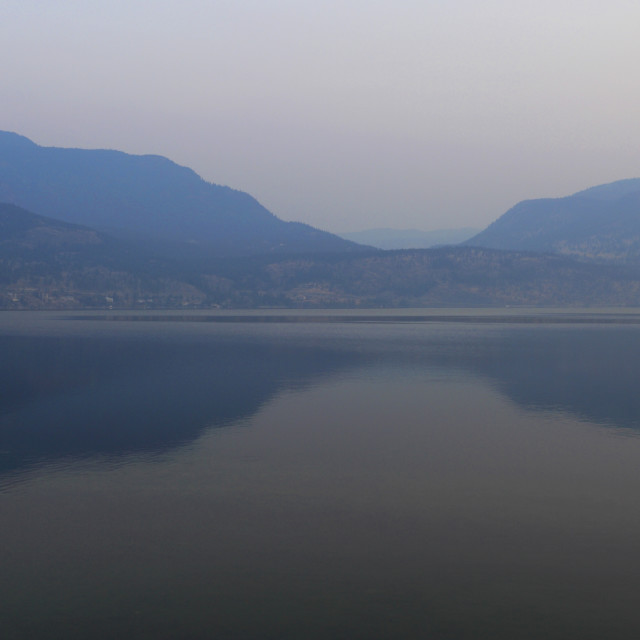 """Sunrise over the Okanagan Lake, Kelowna City, Okanagan valley, British..."" stock image"