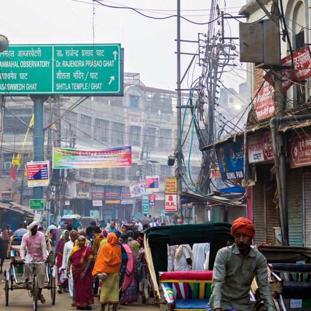 """Street, Banaras"" stock image"