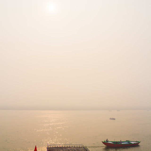 """Boats at River Gange"" stock image"