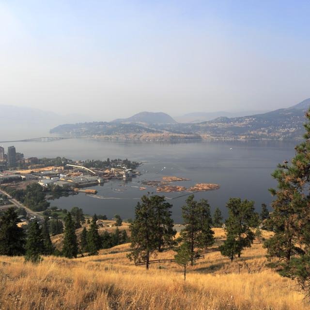 """View over Sutherland Bay and Kelowna City from Knox Mountain, Okanagan..."" stock image"