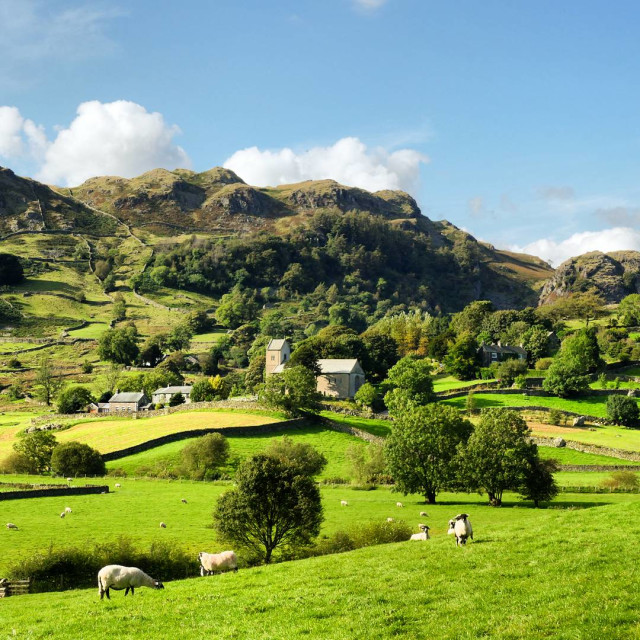 """""""Kentmere in Late Summer Sunshine"""" stock image"""