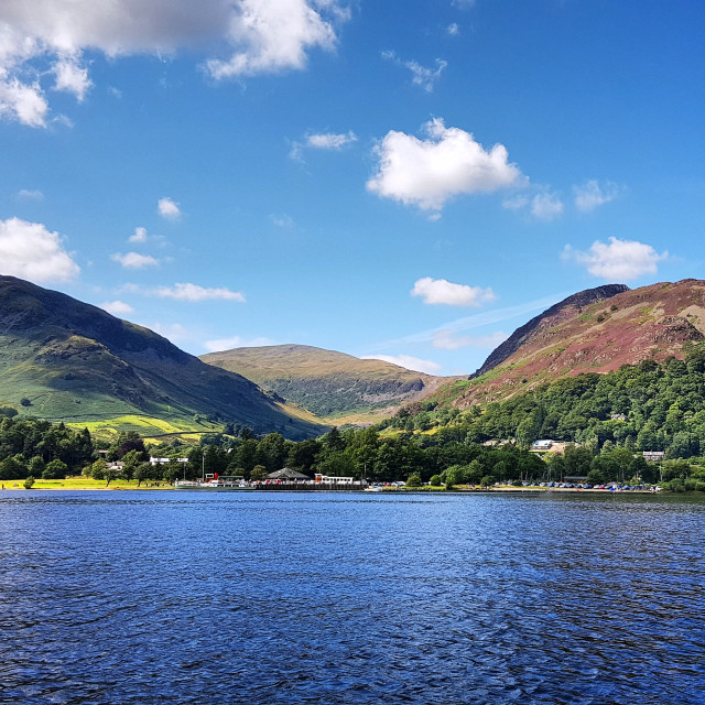 """""""View from Ullswater towards Glenridding"""" stock image"""