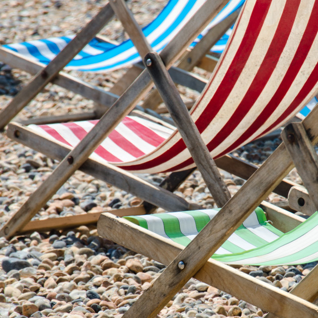 """Three deckchairs"" stock image"