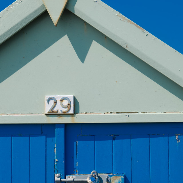 """Blue beach hut"" stock image"