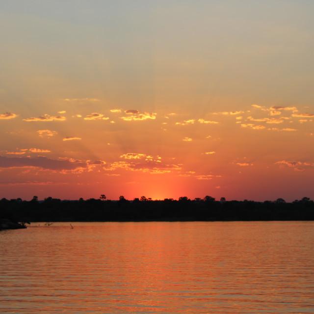 """""""Zambezi River Sunset"""" stock image"""