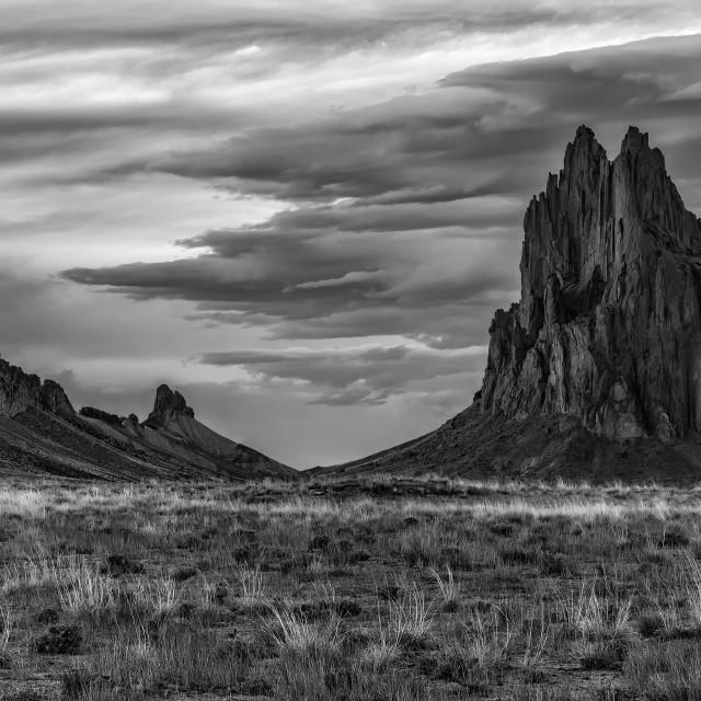 """Shiprock Peak In Black And White"" stock image"