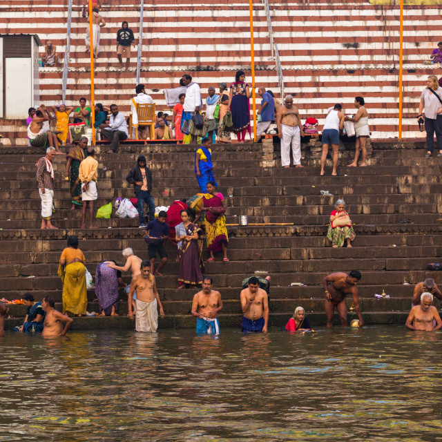 """Bath in Ganga"" stock image"