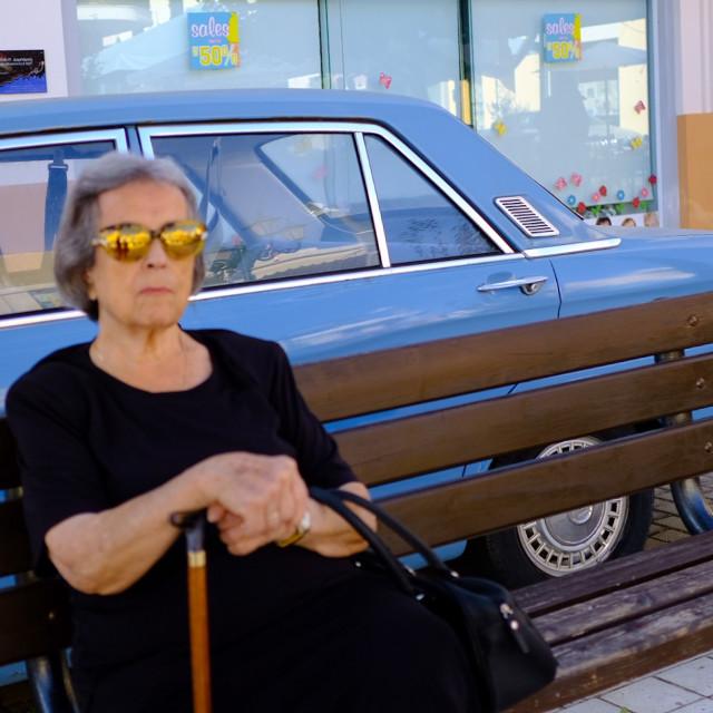 """Argostoli kefalonia sunglasses retro car"" stock image"