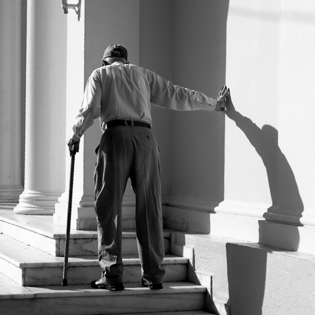 """Elderly man shadow"" stock image"