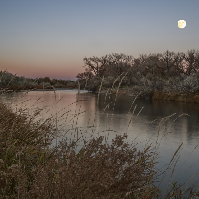 """""""Moon Over Animas River"""" stock image"""