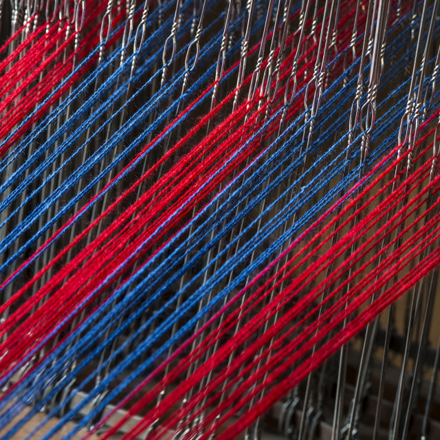"""""""Traditional Shaker loom with colorful yarn"""" stock image"""