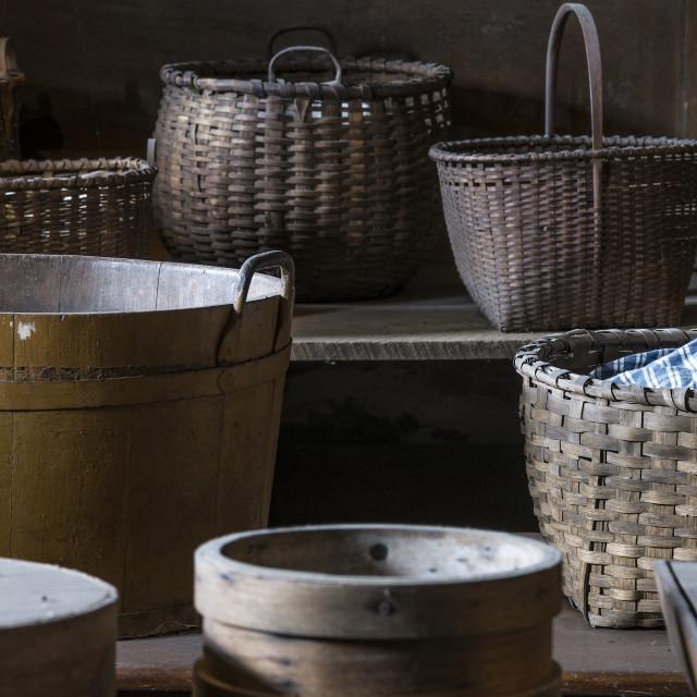 """Variety of Shaker baskets, Hancock Shaker Village"" stock image"