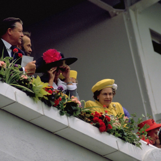 """Queen and Prince Phillip at The Races"" stock image"