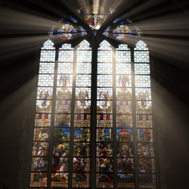 """St Bavo's Catherdal Stain Glass window"" stock image"