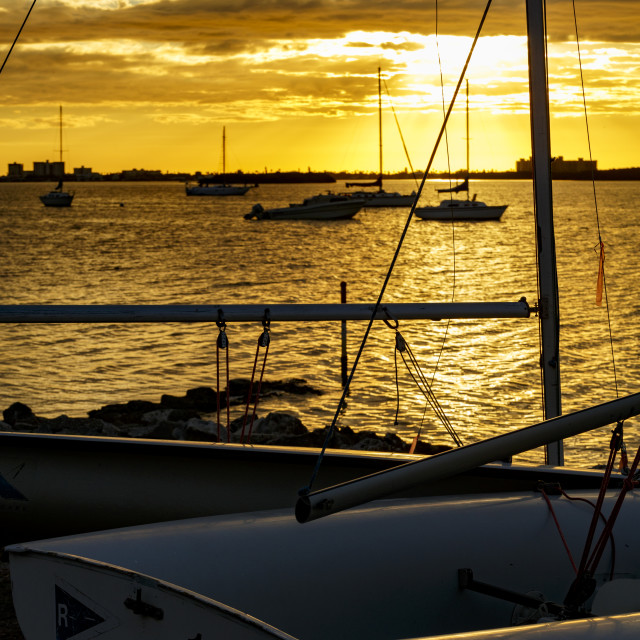 """Sunset at the Marina"" stock image"