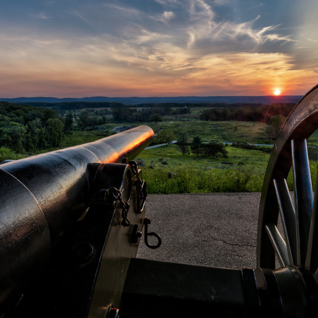 """Sunset Over Gettysburg Battlefield"" stock image"