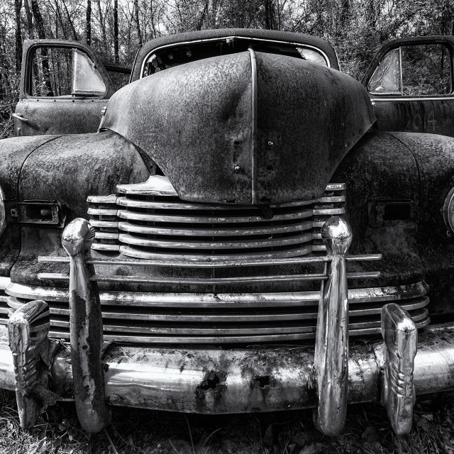 """Old Ford in Black and White"" stock image"