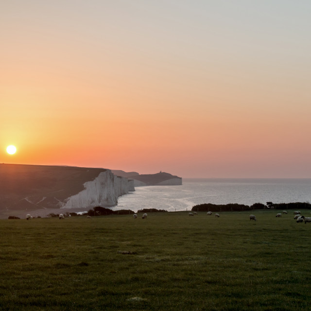 """""""Sunrise over Seven Sisters"""" stock image"""