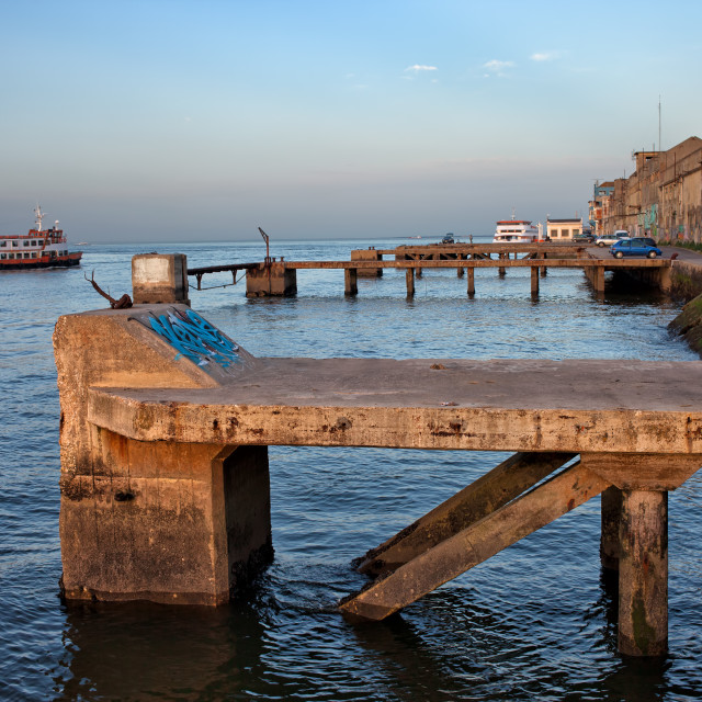 """Old Quay Waterfront in Almada"" stock image"