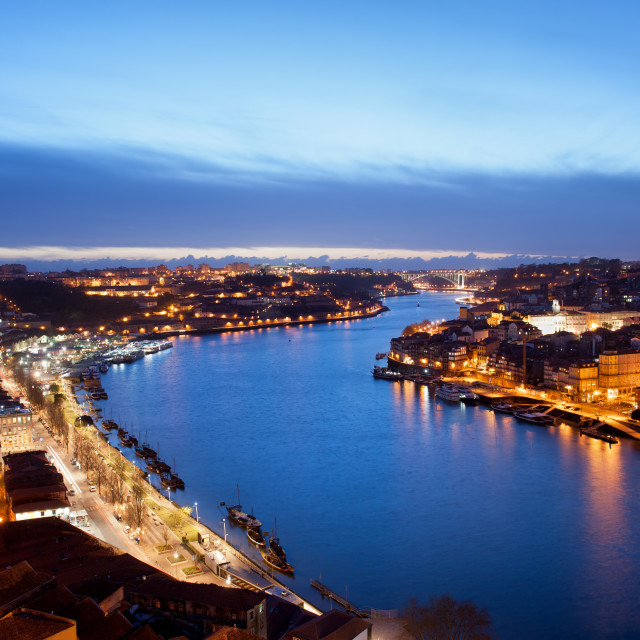 """Porto and Gaia at Dusk in Portugal"" stock image"