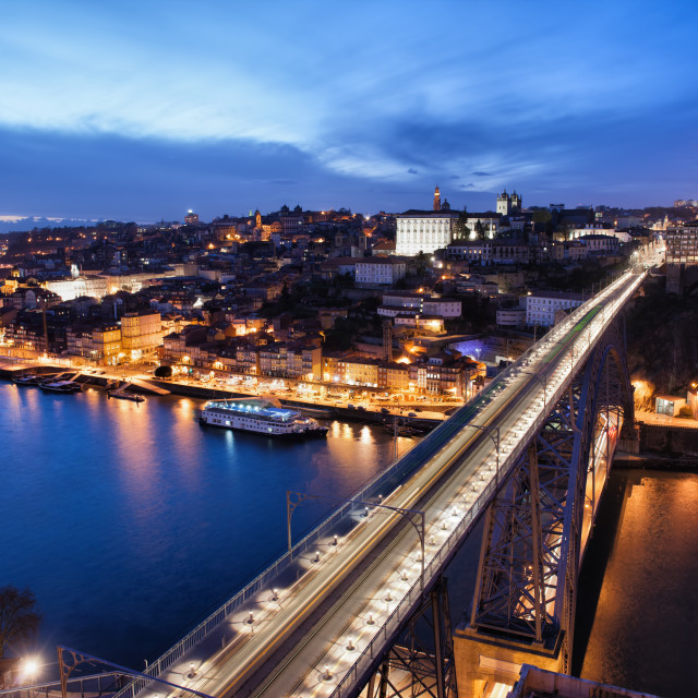 """City of Porto at Night in Portugal"" stock image"