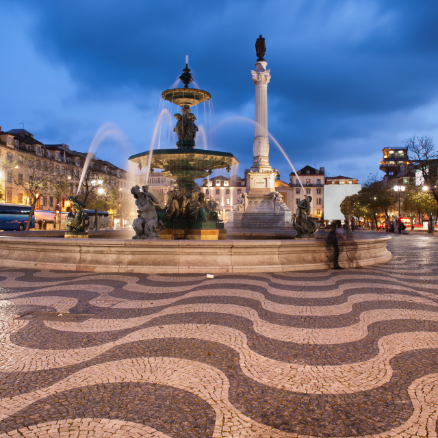 """Rossio Square at Night in Lisbon"" stock image"
