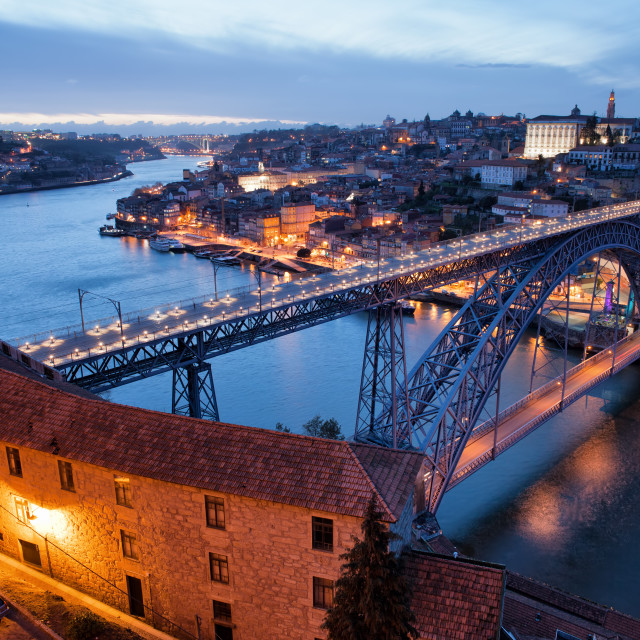 """Porto Cityscape in Portugal at Twilight"" stock image"