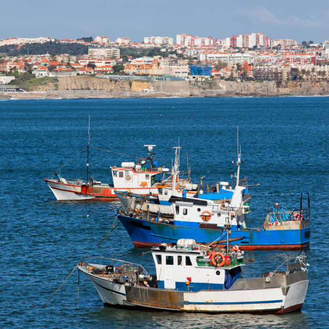 """Fishing Boats on the Atlantic Ocean in Portugal"" stock image"