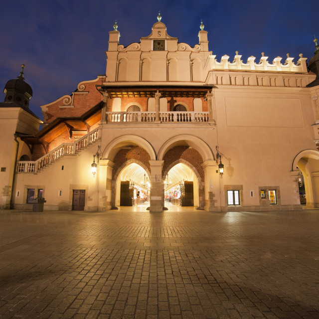 """Cloth Hall Side View at Night in Krakow"" stock image"