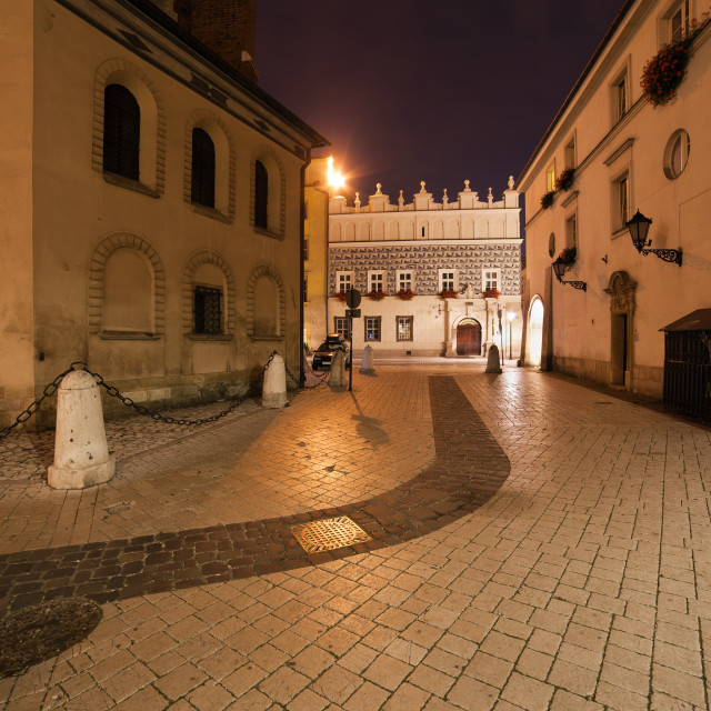 """Mariacki Square at Night in the Old Town of Krakow"" stock image"