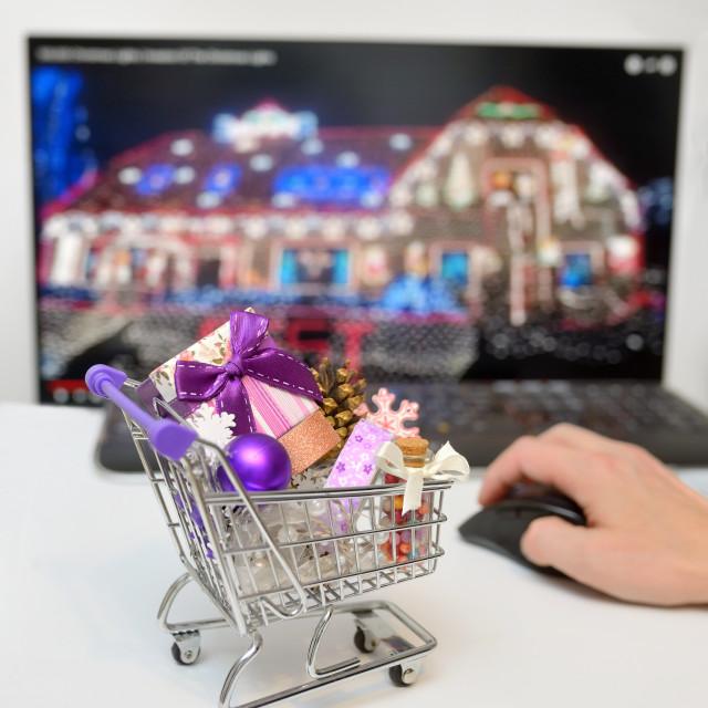 """""""Online Shopping Cart on desk"""" stock image"""