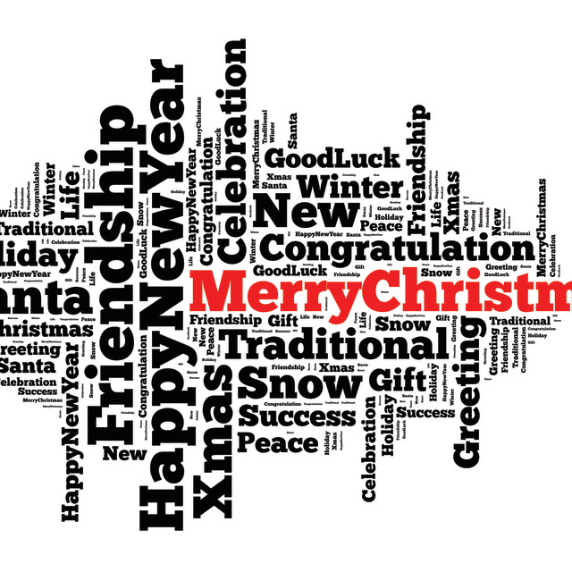 """Merry Christmas word cloud concept"" stock image"