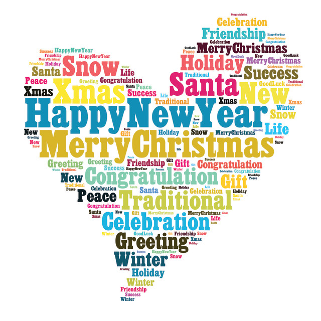 """""""Merry Christmas word cloud concept"""" stock image"""