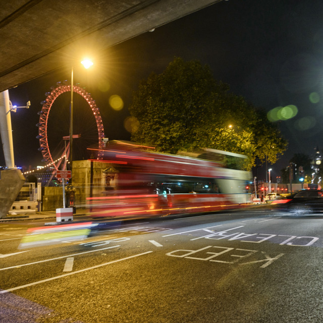 """Night time along the Embankment"" stock image"